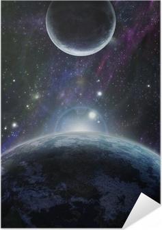 Póster Autoadhesivo Puesta de sol con dos planeta azul