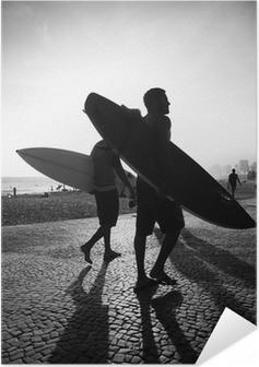 Póster Autoadhesivo Río Tabla de Surf Sunset surfistas Arpoador Brasil