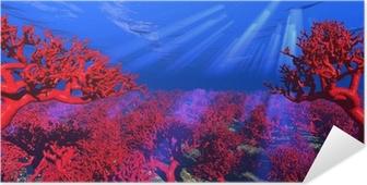 Póster Autoadhesivo Submarino de coral rojo