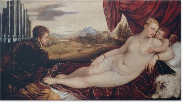 Póster Autoadhesivo Tiziano - Venus y el organista - Reproducciones