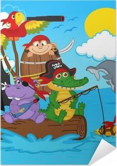 Poster autocollant Animaux pirates - illustration vectorielle, eps