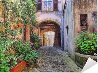 Poster autocollant Arqué rue pavée dans un village de Toscane, Italie