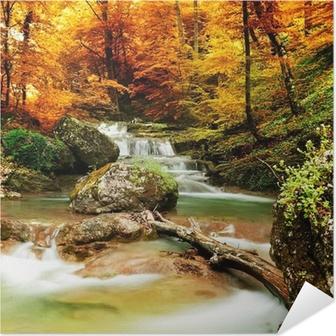 Poster autocollant Automne ruisseau bois avec des arbres jaunes