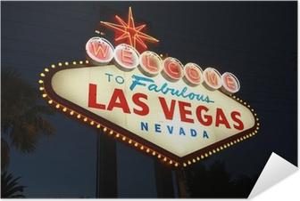 Poster autocollant Bienvenue à Las signe néon Vegas la nuit