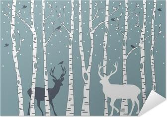 Poster Autocollant Bouleaux avec des cerfs, vecteur de fond