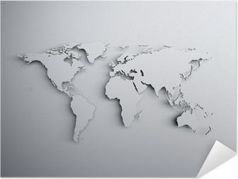 Poster autocollant Carte du monde en 3D