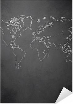 Poster autocollant Carte du monde vecteur de tableau noir