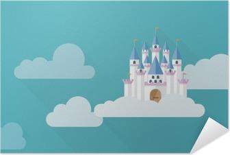 Poster autocollant Chateau dans le ciel. Flat château conception d'imaginaire dans les nuages illustration vectorielle