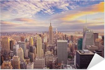 Poster autocollant Coucher de soleil sur le centre de Manhattan