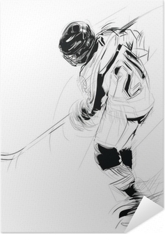 Poster autocollant Dessin à l'encre illustration d'un joueur de la glace suçon