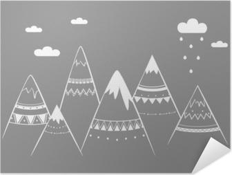 Poster autocollant Enfants de montagne, illustration vectorielle dessinés à la main
