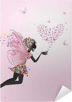 Poster autocollant Fée avec un valentine de papillons