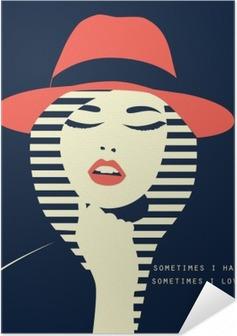Poster autocollant Femme sexy stylisé avec cabane