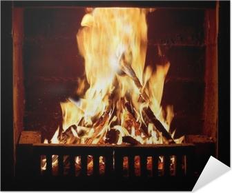 Poster autocollant Feu brûlant dans la cheminée