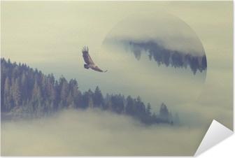 Poster autocollant Forêt sur la pente de la montagne. effet de reflets géométriques