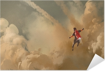 Poster autocollant Garçon volant dans le ciel nuageux avec fusée à réaction, peinture d'illustration