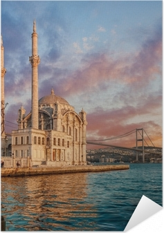Poster autocollant Iconic view of Istanbul from Ortakoy with The Bridge, The Mosque and The Bosphorus