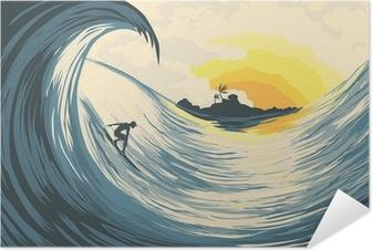 Poster autocollant Île tropicale vagues et surfer