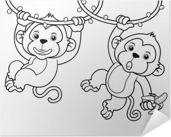 Poster autocollant Illustration de bande dessinée Monkeys - Livre à colorier