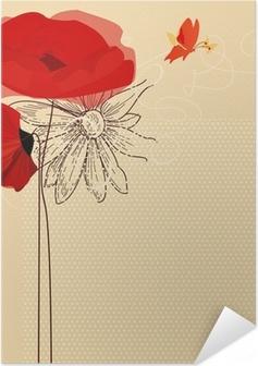 Poster autocollant Invitation floral, coquelicots et vecteur de papillon