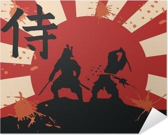 Poster autocollant Japon samurai