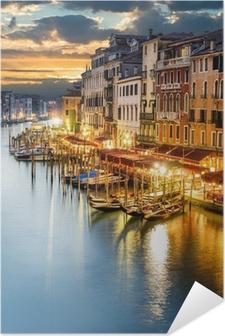 Poster autocollant Le Grand Canal à Venise de nuit