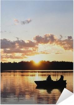 Poster autocollant Les pêcheurs dans le bateau