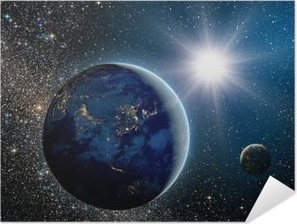 Poster autocollant Lever de soleil sur la planète et les satellites dans l'espace.