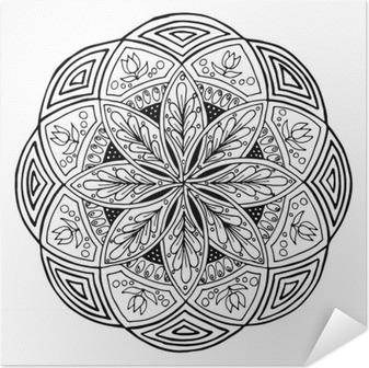 Coloriage Mandala Rond.Sticker Main Dessin Mandala Ornement Rond Floral Motif Pour Livre