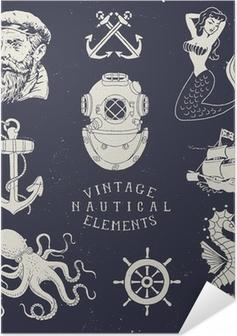 Poster autocollant Main Vintage Drawn Set nautique