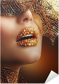 Poster autocollant Maquillage de luxe d'or. Belle vacances Professional Make-up