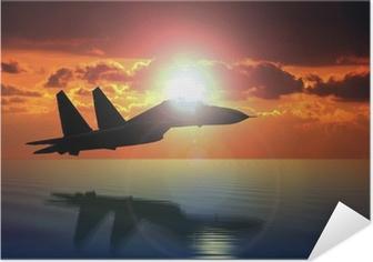 Poster autocollant Militaire d'avions de vol sur Bright Sun