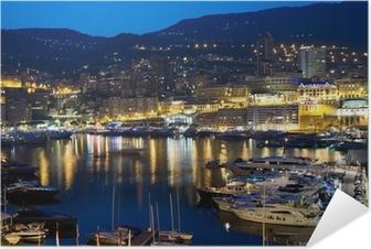 Poster autocollant Monaco la nuit