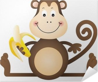 Poster autocollant Monkey banana manger