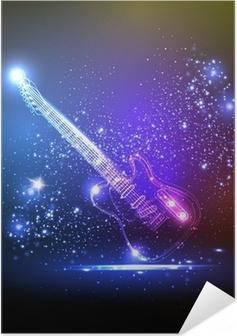 Poster autocollant Néon guitare légère, grunge musique