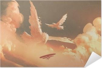 Poster autocollant Oiseaux en forme de nuage dans le ciel coucher de soleil, illustration peinture