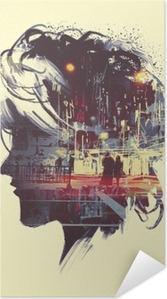 Poster Autocollant painting of double exposure concept with lady portrait silhouette and couple walking in night city