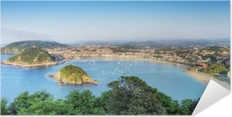 Poster autocollant Panorama de la Baie de San Sebastian Donostia, Espagne.