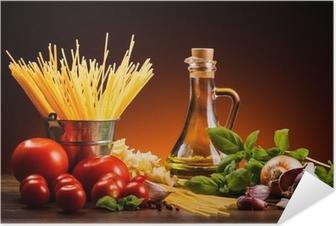 Poster autocollant Pâtes et légumes frais