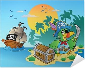Poster autocollant Perroquet pirate et la poitrine sur l'île