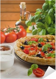 Poster autocollant Pizza sur la table en bois