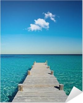 Poster Autocollant Plage vacances ponton bois