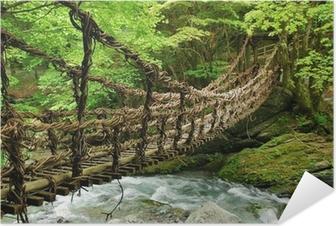 Poster autocollant Pont de lianes et bambou Kazura-bashi à Oku Iya, Shikoku