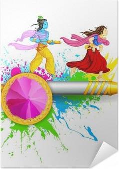 Poster autocollant Radha et Krishna jouant Holi