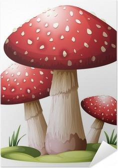 Poster autocollant Red mushroom