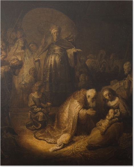 Poster autocollant Rembrandt - Adoration des mages - Reproductions