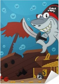 Poster autocollant Requin pirate - illustration vectorielle
