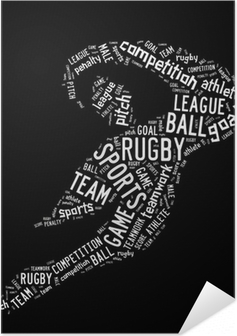Poster autocollant Rugby pictogramme formulations blanc