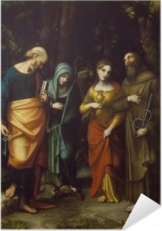 Poster autocollant Saints Peter, Martha, Mary Magdalen, and Leonard