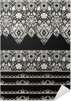 Poster autocollant Seamless dentelle dentelle bandes de washi ruban motif sur fond noir